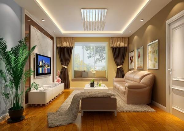 客厅与墙面色彩的完美过渡从视觉上实现了区域的划分,同时与地板颜色相呼应,可谓是低调的华丽。背景墙的咖色镜子装饰完美诠释了何谓简约不简单,也给人以空间扩充之感。