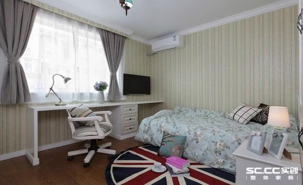 卧室设计: 壁纸的使用为空间营造前卫、温馨的感觉。由于线条简单、装饰元素少,现代风格家具需要完美的软装配合,才能显示出美感。所以淡蓝色窗帘和色彩丰富的地毯以及木质地板为整个空间提供更多美感