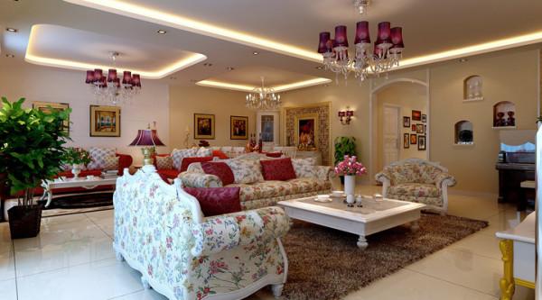 客厅 田园风格与欧式风格混搭 ,有种回归大自然但又很富贵的感情