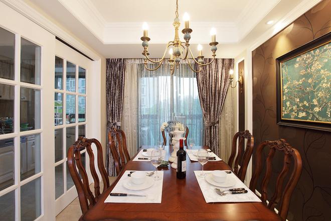 日升装饰 餐厅图片来自装修设计芳芳在172平中式与美式混搭的分享