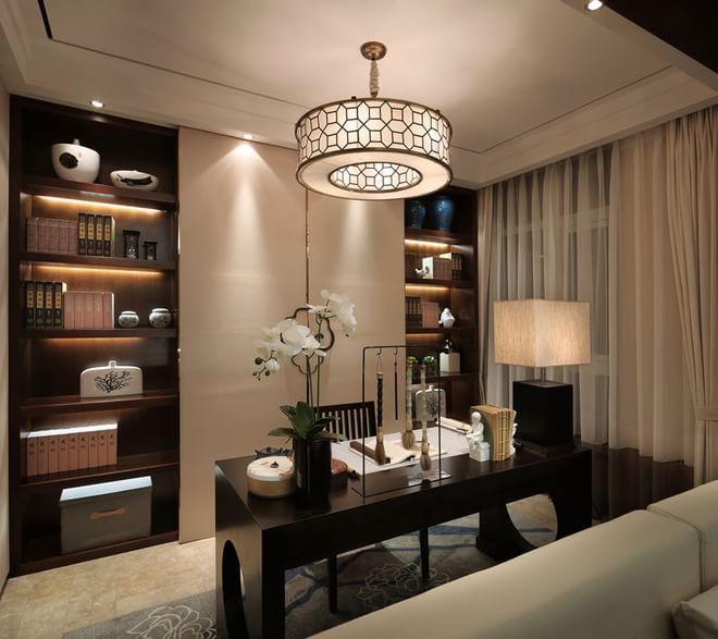 日升装饰 书房图片来自装修设计芳芳在127平新中式风格的分享
