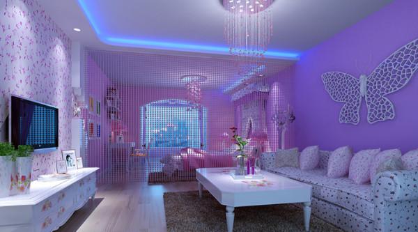 楼上的小客厅 颜色很柔和 很适合年轻人把楼上作为婚房。