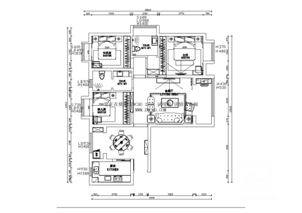 郑州锦艺国际华都三期122平方三室两厅,平面布局方案-=艺尚装饰