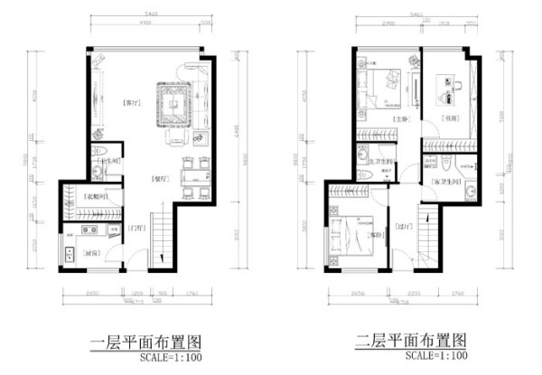 soho现代城(175平)现代简约风格案例平面布置图展示
