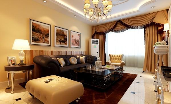 客厅设计: 设计理念:本案设计师强调以华丽的装饰、明亮的色彩、精美的造型达到雍容华贵的装饰效果。亮点:空间吊顶造型个性大气唯美,彰显了贵族气息。