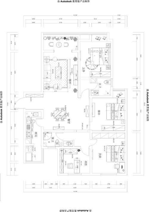 简约 田园 三居 永威翡翠城 户型图图片来自孙文强在永威翡翠城160平法式田园的分享