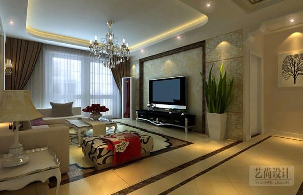 小城之春90平方户型,客厅电视背景墙装修效果图