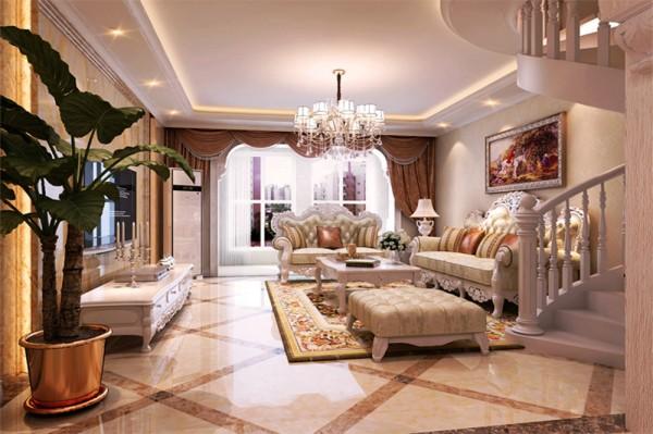 石家庄业之峰装饰-紫睿天和108平米两居室欧式风格装修效果图