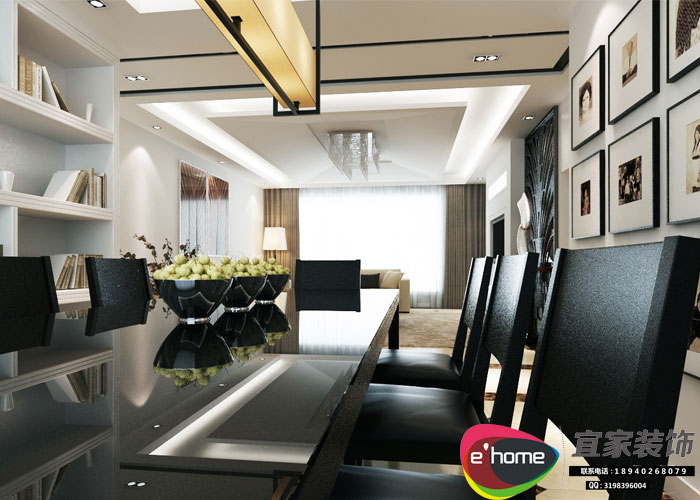 简约 三居 餐厅图片来自沈阳宜家装饰在现代风格155平华发岭南荟的分享