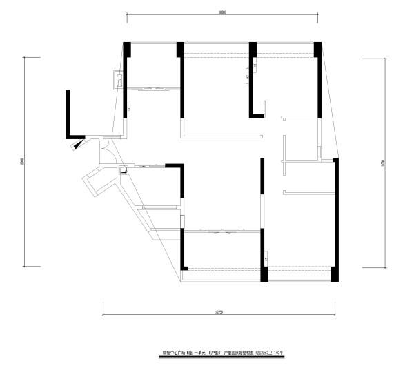 麟恒中心广场 B座 一单元  E户型01 户型图原始结构图 4房2厅2卫 140平
