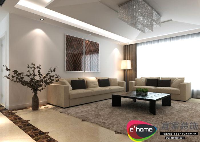 简约 三居 客厅图片来自沈阳宜家装饰在现代风格155平华发岭南荟的分享
