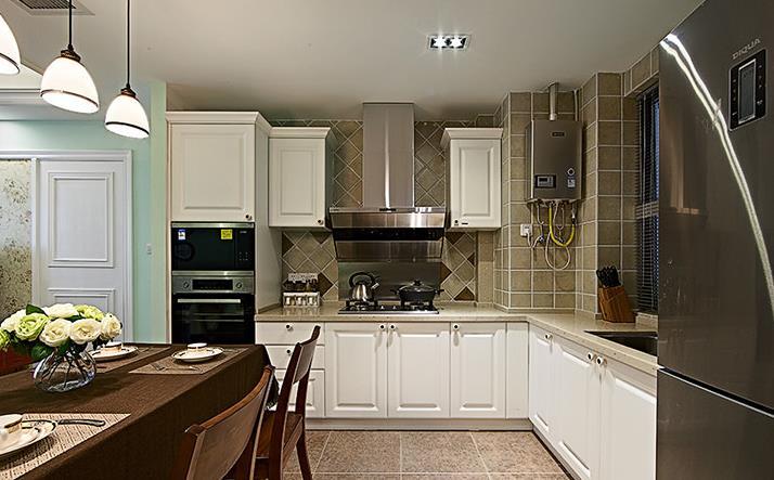 美式 小清新 浅色系 90后 婚房 厨房图片来自佰辰生活装饰在89方温馨美式90后婚房的分享