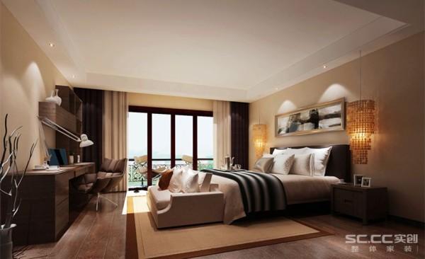 卧室设计: 主卧的空间很大,有一个很大的阳台,房子原本建筑有一个台阶,在外边有一个太阳能的热水器