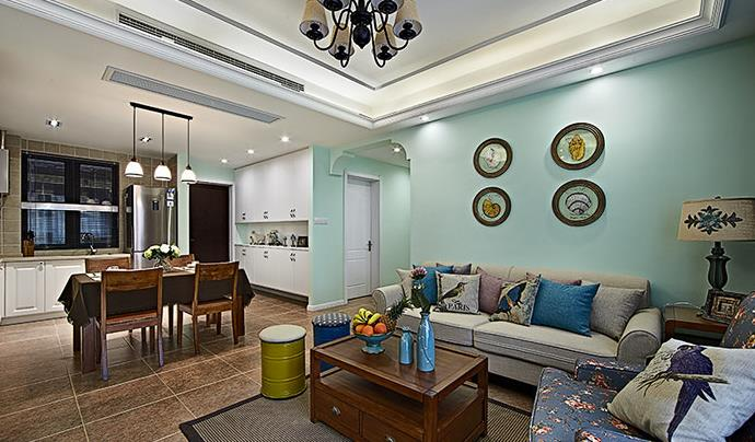 美式 小清新 浅色系 90后 婚房 客厅图片来自佰辰生活装饰在89方温馨美式90后婚房的分享