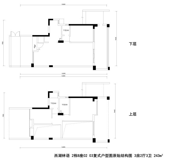 西湖林语2栋B座02 03复式户型图原始结构图 3房2厅3卫 243m²