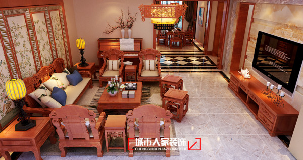 复地东山国际别墅209㎡中式古典风格装修