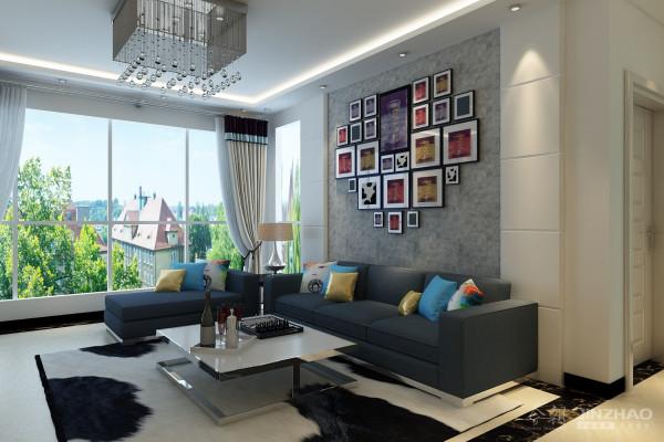 客厅2 采用了沙发抢和照片墙结合的设计方式,美化了沙发背景墙,同时也起到了画龙点睛的作用。