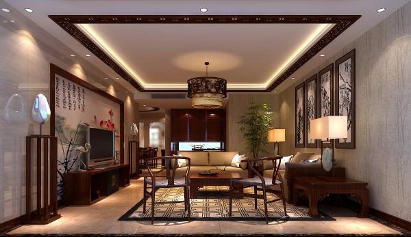 中式风格的客厅,采用瓷砖上墙方式加上中式壁纸作为背景墙,顶面采用回型吊顶加中式木格做搭配 ,凸显中式风格!
