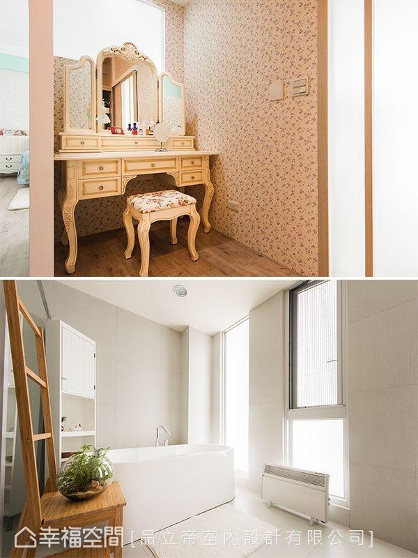 更衣间角落,小碎花壁纸托衬公主风格的梳妆台,勾勒出儿时梦想的生活细节,而拥有优质采光的卫浴则改以简约呈现。