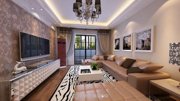 电视墙面用带有欧式风味的艺术墙纸,不仅提升主人的生活品质,还给整个空间营造了一种不一样家的氛围。