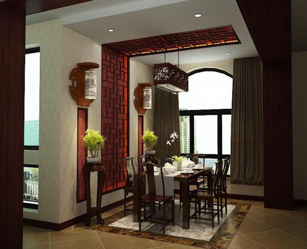 餐厅在设计上榻榻米的使用既突出了阳台与客厅的位置,又能很好的满足客户休闲待客的需求。把传统的日式榻榻米放进阳台,色彩一改榻榻米本身的原木色,采用了颜色偏深点的咖色,让整个空间不会显得突兀。