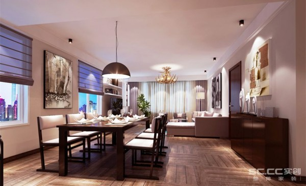 客厅设计: 此户型客厅与餐厅共用一个大的空间,设计师从颜色布局为整个空间做为一个分割,在不影响整个房间的高度之下把中央空调恰到好处隐藏到餐客厅之间的吊顶里面