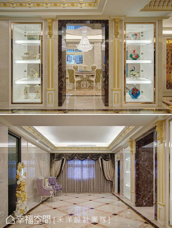 金漆细描的艺术线板框筑细致架构,佐以深色大理石门斗与展放于两侧的艺品,更见宴客厅的奢华气派。