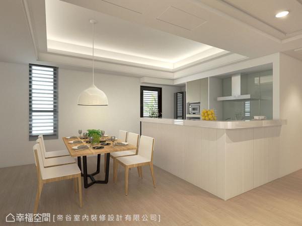 白色语汇里缀点木作餐桌椅,在刻意拉低的主灯照明下,围聚温馨用餐时光。 (此为3D合成示意图)
