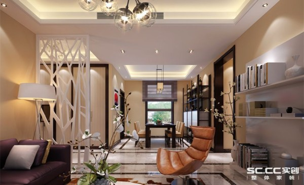客厅是一个连接内外沟通感情的主要场所,是最能体现业主生活品味和情调的地方,设计通过颜色的整体搭配和独特的造型突出现代简约的风格,比较特别的灯使这个空间变得很