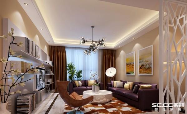 客厅设计: 客厅是一个连接内外沟通感情的主要场所,是最能体现业主生活品味和情调的地方,设计通过颜色的整体搭配和独特的造型突出现代简约的风格,比较特别的灯使这个空间变得很前