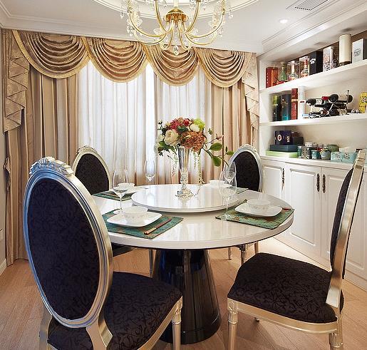 新古典 中式 时尚清新 富有品味 餐厅图片来自佰辰生活装饰在150平新古典中式混搭家的分享