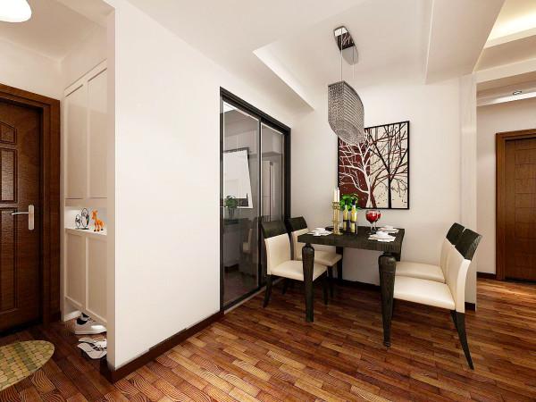 厨房采用拉门形式,通透宽敞明亮,侧面增加了空间,米黄色的餐桌凳子配以绿色植物提亮了整个空间的明度。