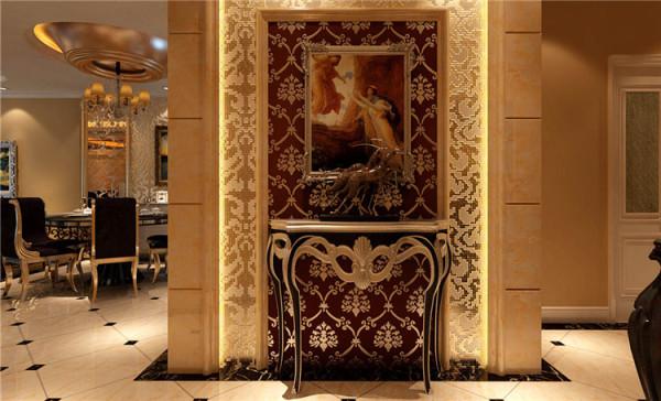 门厅设计: 金碧辉煌的门厅玄关设计,入户的那一刻就能感受到家的温馨