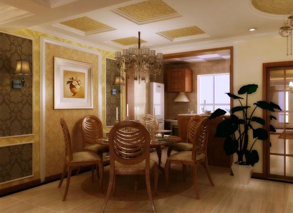 这款欧式风格餐厅设计在颜色上以温馨的米黄色调为主,餐厅背景墙和吊顶采用相同风格的壁纸,在空间上给人一种协调感和延伸感。餐厅背景墙上使用的两盏欧式深色壁灯,柔和的光线使用餐氛围更加愉悦。