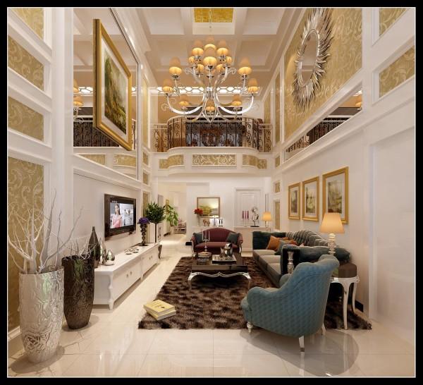 客厅采用灰色系的沙发,多出运用了石膏线和金色的配饰更能体现出欧式风格的特色,背景墙在色彩上形成一二层的完美统一,渲染出客厅的高贵与奢华,沙发背景墙上的两幅精美装饰画,提升了客厅的欧式整体气质