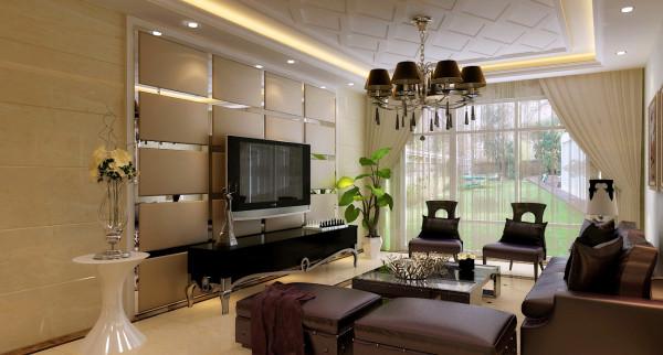 客厅背景墙使用软装工艺在软包的同时用镜面分割开,体现了不一样的视觉感,在客厅的天花上造型上也别具一格,整体上有奢华贵族感,跟现代很好的结合在一起。