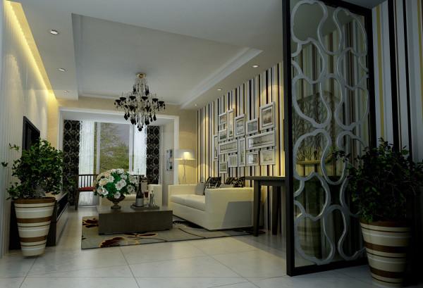 设计理念:整体以线条为主,如沙发背景墙的竖条图案的壁纸和直线的平面吊顶。整体的背景色则采用乳黄色的墙漆,整个客厅的色调,温暖随和
