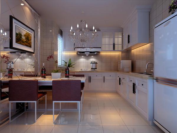 开放式的厨房在一定的空间中增加了视觉感,让整个空间的视觉达到统一平面。为了增加厨房的空间感,在餐桌的位置设计了一块装饰镜。让古典的欧式风格与现代风格的完美结合
