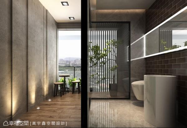 拆除公用卫浴的墙面改以玻璃取代,引入室外光源破除一般对于卫浴空间的阴暗印象,并预留卷帘置入空间,弹性兼顾隐私问题。