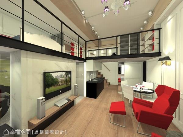电视墙结合石材与玻璃区隔出车库与客厅空间,右边挑高天花板下方则是餐厨区,开放式设计将空间合而为一。 (此为3D合成示意图)