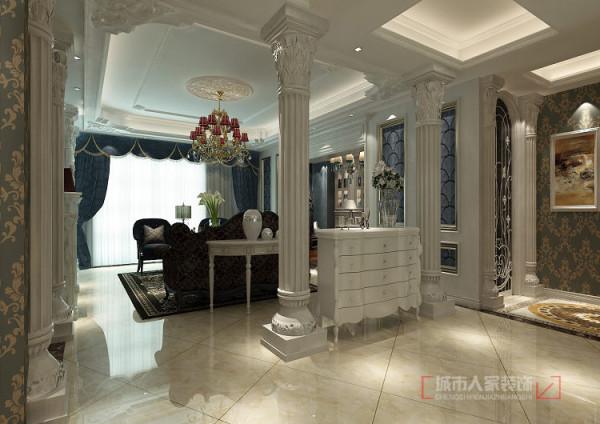 入户的改造扩大了门厅的空间,有效的把原有卧室改成书房和独立的衣帽间两部分,提高了空间的利用率,也提升了生活品味。衣帽间的隐形门设计了雕花造型,陪黑色的工艺玻璃,让入户端景更加精致玲珑。