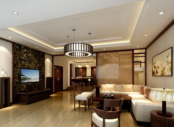 挑高空间的客厅中,以具有立体凹凸感的正圆形来作为电视背景墙,顶部的棕红色横梁与独特吊顶为这间客厅增添了不少时尚感,而沙发后的墙面更是打造成开放式格局,让整个空间看上去既显层次感又显得大气。