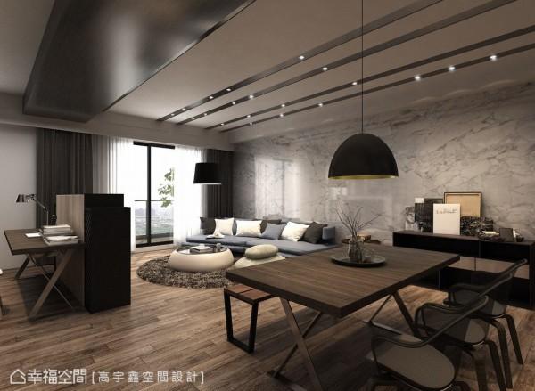 不同于工业风常用的文化石材及管线外露呈现手法,郑皓宇设计师利用雕刻白大理石作为沙发背墙,并于天花板施以线性语汇并埋入灯光照明,于粗犷中营造出细腻质感。 (此为3D合成示意图)