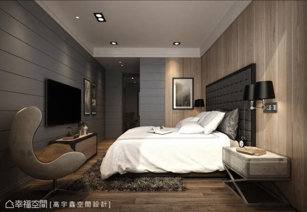 以钢刷木皮搭配靛蓝色调,营造出安静沉稳的空间氛围,给予屋主舒适的卧眠氛围。 (此为3D合成示意图)