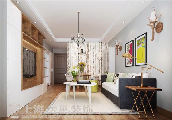 贰号城邦90平两室两厅北欧风格装修效果图--客厅