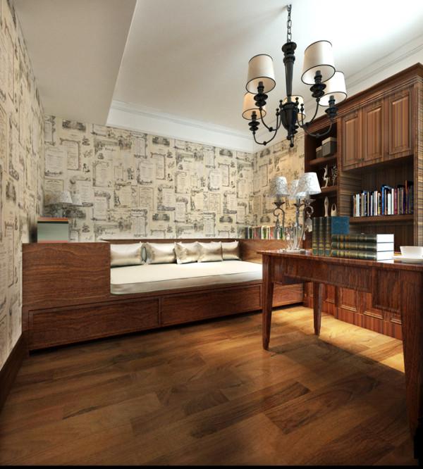 书房设计师在设计时主要运用原木家具、无纺布墙纸、美式吊灯整体搭配运用,从而达到更休闲、自然的美式乡村风格。