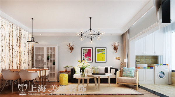 建业贰号城邦90平2室2厅北欧风格装修效果图--沙发背景墙