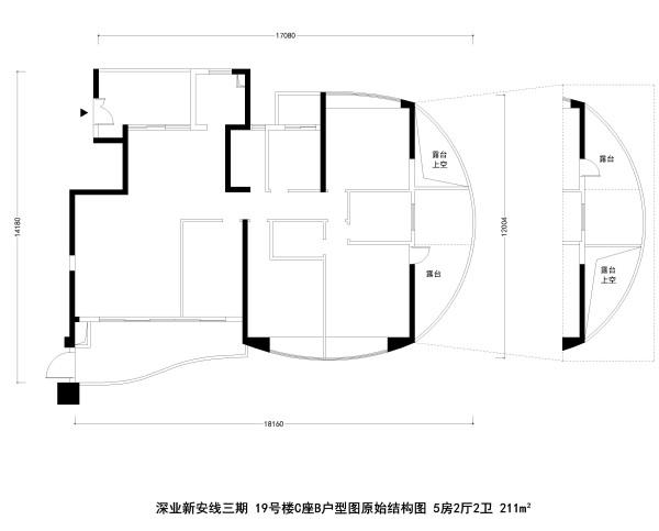 深业新安线三期19号楼C座B户型图原始结构图 5房2厅2卫 211m²