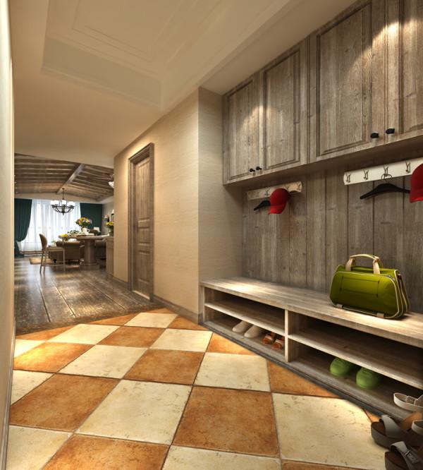 入户,业之峰装饰设计师考虑到业主偏爱木纹理,并且房子为和家人度假用,所以在空间材质上运用原木,用原木本身具有的休闲,自由的等特点让整个空间很自由,休闲。