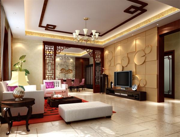 业主是一对中年夫妇,比较喜欢中式风格,客厅的电视墙采用了荷叶造型的几何图案,
